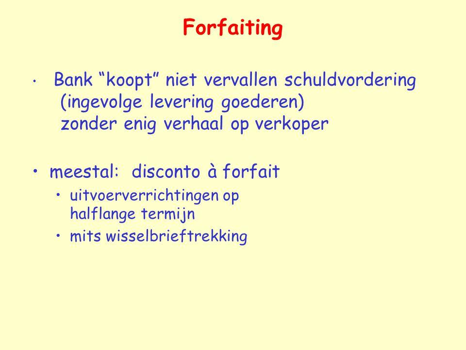 """Forfaiting Bank """"koopt"""" niet vervallen schuldvordering (ingevolge levering goederen) zonder enig verhaal op verkoper meestal: disconto à forfait uitvo"""