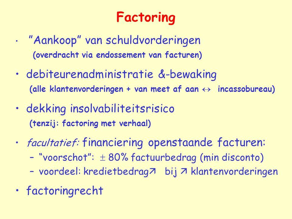 """Factoring """"Aankoop"""" van schuldvorderingen (overdracht via endossement van facturen) debiteurenadministratie &-bewaking (alle klantenvorderingen + van"""