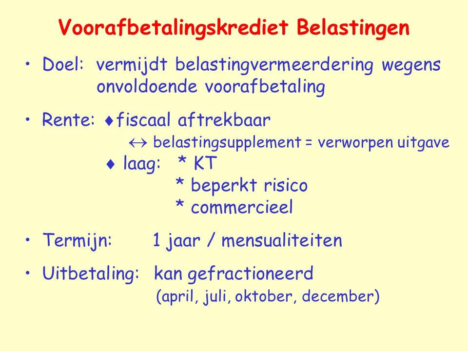 Voorafbetalingskrediet Belastingen Doel: vermijdt belastingvermeerdering wegens onvoldoende voorafbetaling Rente:  fiscaal aftrekbaar  belastingsupp