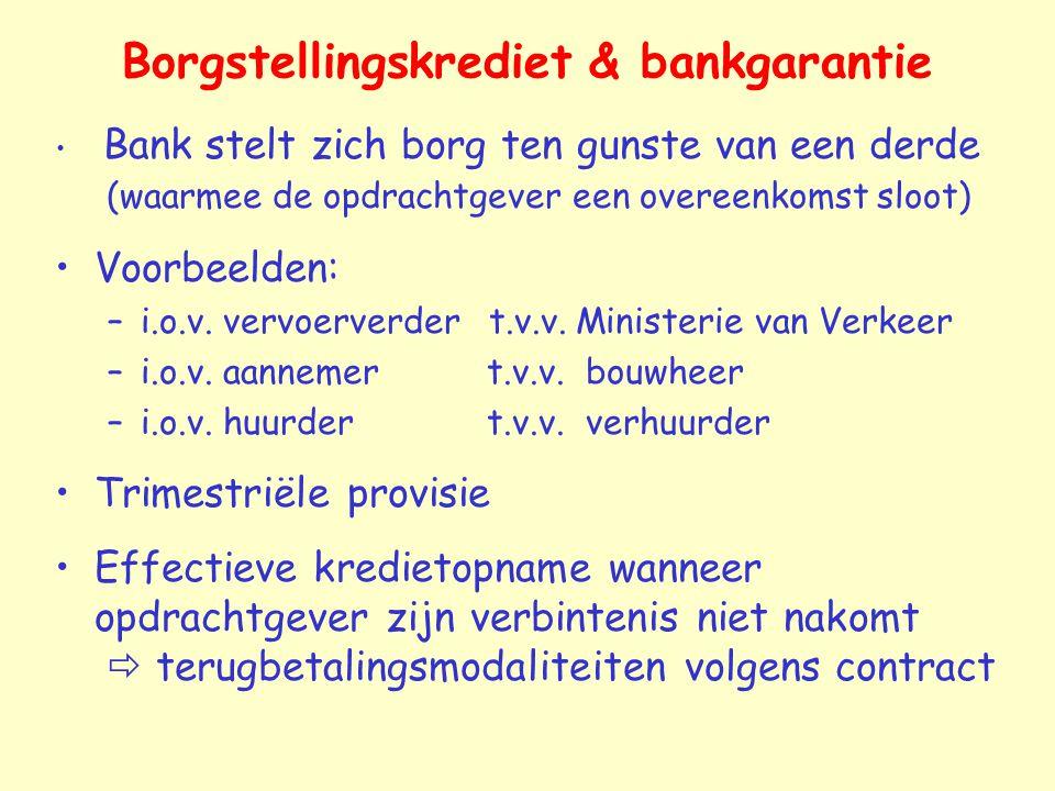Borgstellingskrediet & bankgarantie Bank stelt zich borg ten gunste van een derde (waarmee de opdrachtgever een overeenkomst sloot) Voorbeelden: –i.o.