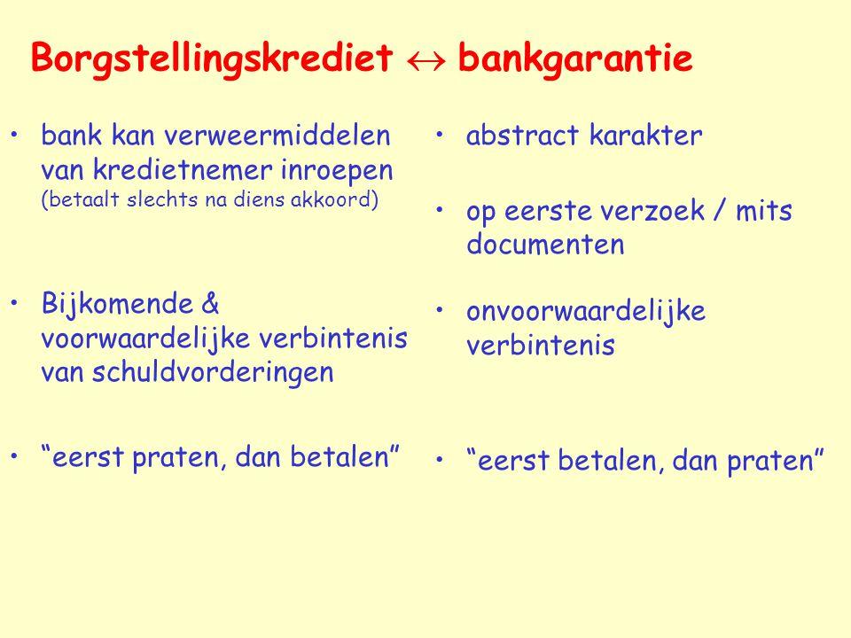 Borgstellingskrediet  bankgarantie bank kan verweermiddelen van kredietnemer inroepen (betaalt slechts na diens akkoord) Bijkomende & voorwaardelijke