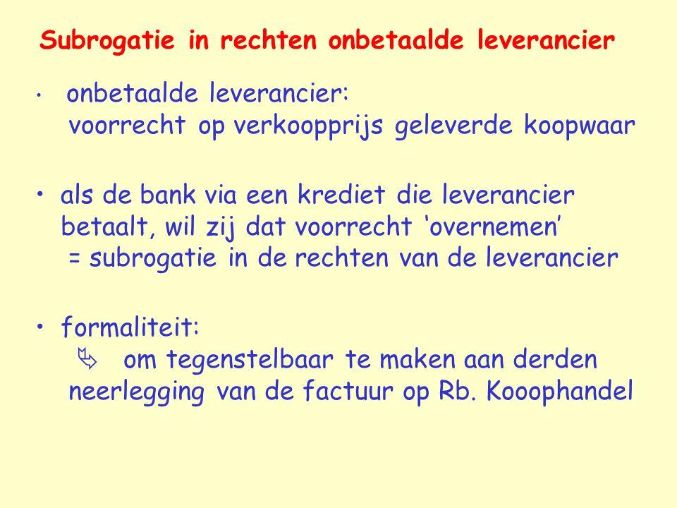 Subrogatie in rechten onbetaalde leverancier onbetaalde leverancier: voorrecht op verkoopprijs geleverde koopwaar als de bank via een krediet die leve