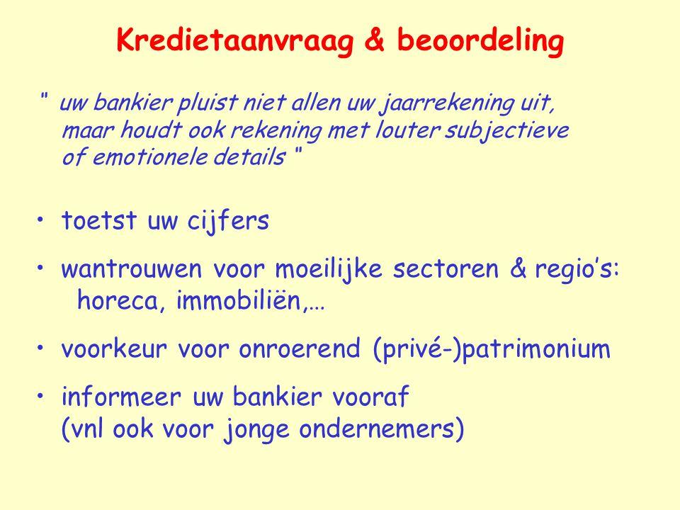 """Kredietaanvraag & beoordeling """" uw bankier pluist niet allen uw jaarrekening uit, maar houdt ook rekening met louter subjectieve of emotionele details"""