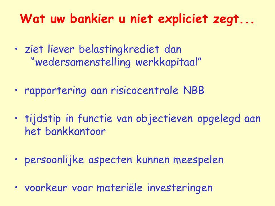 """Wat uw bankier u niet expliciet zegt... ziet liever belastingkrediet dan """"wedersamenstelling werkkapitaal"""" rapportering aan risicocentrale NBB tijdsti"""