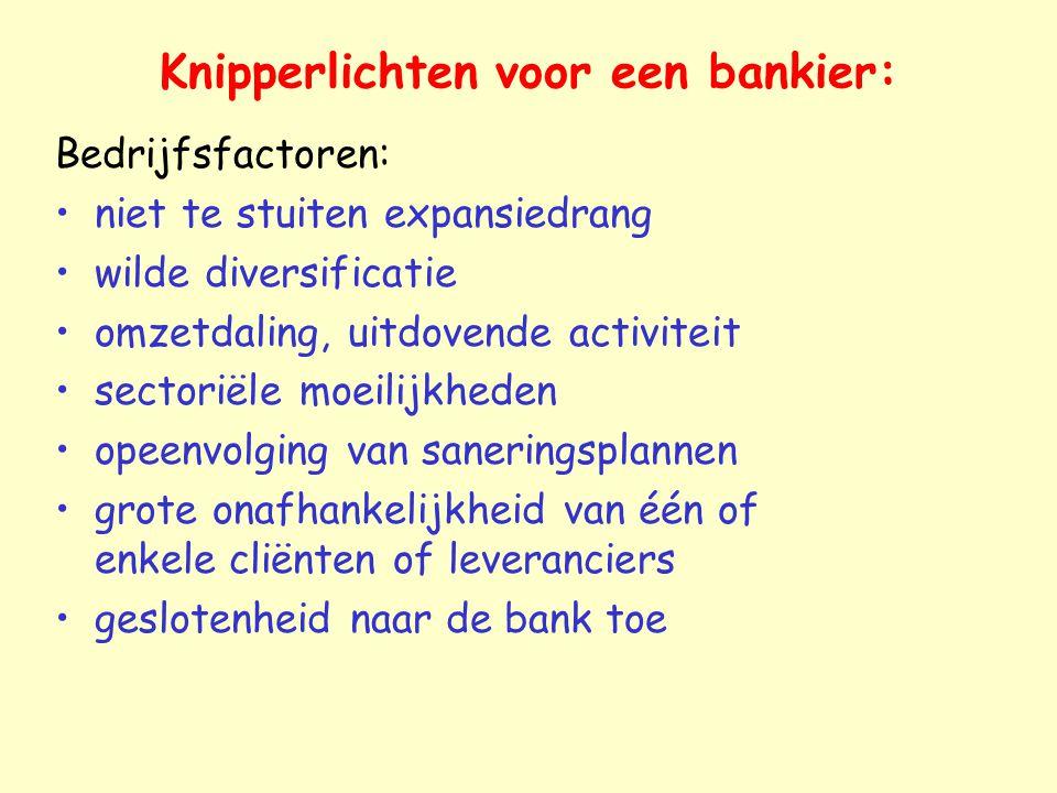 Knipperlichten voor een bankier: Bedrijfsfactoren: niet te stuiten expansiedrang wilde diversificatie omzetdaling, uitdovende activiteit sectoriële mo