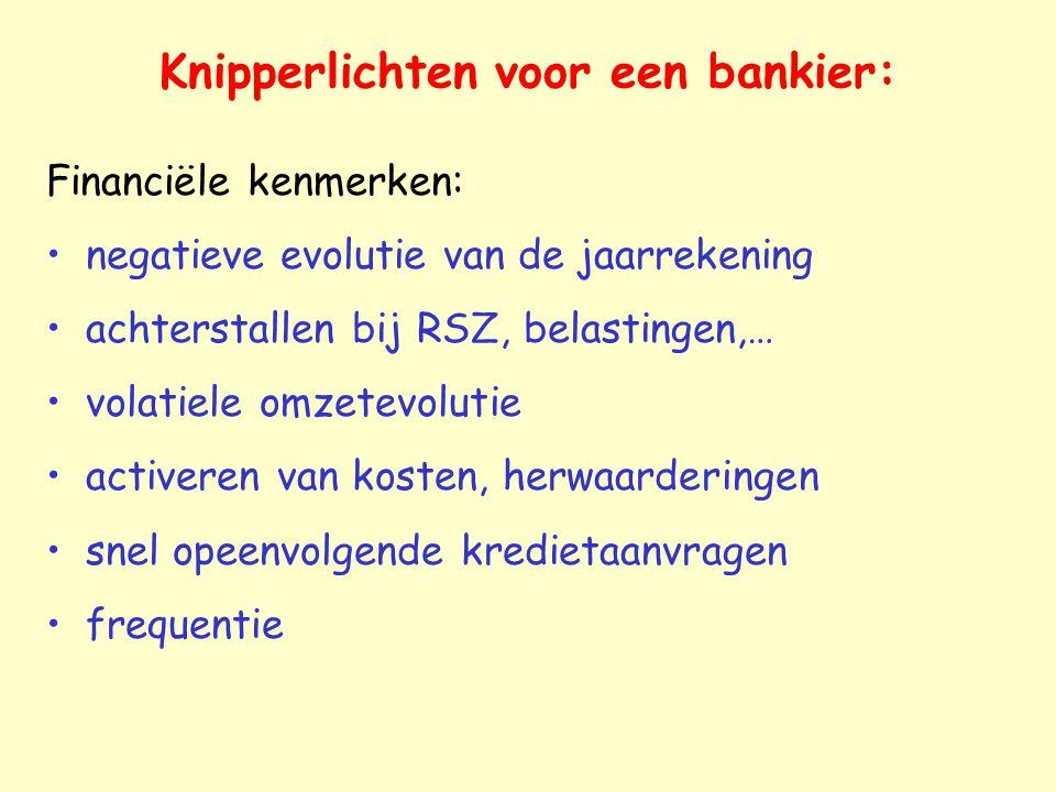 Knipperlichten voor een bankier: Financiële kenmerken: negatieve evolutie van de jaarrekening achterstallen bij RSZ, belastingen,… volatiele omzetevol