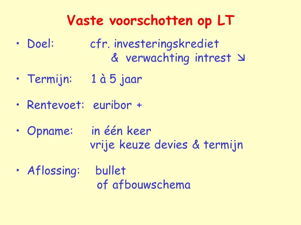 Vaste voorschotten op LT Doel: cfr. investeringskrediet & verwachting intrest  Termijn: 1 à 5 jaar Rentevoet: euribor + Opname: in één keer vrije keu