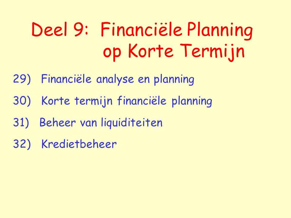 Deel 9: Financiële Planning op Korte Termijn 29) Financiële analyse en planning 30) Korte termijn financiële planning 31) Beheer van liquiditeiten 32) Kredietbeheer
