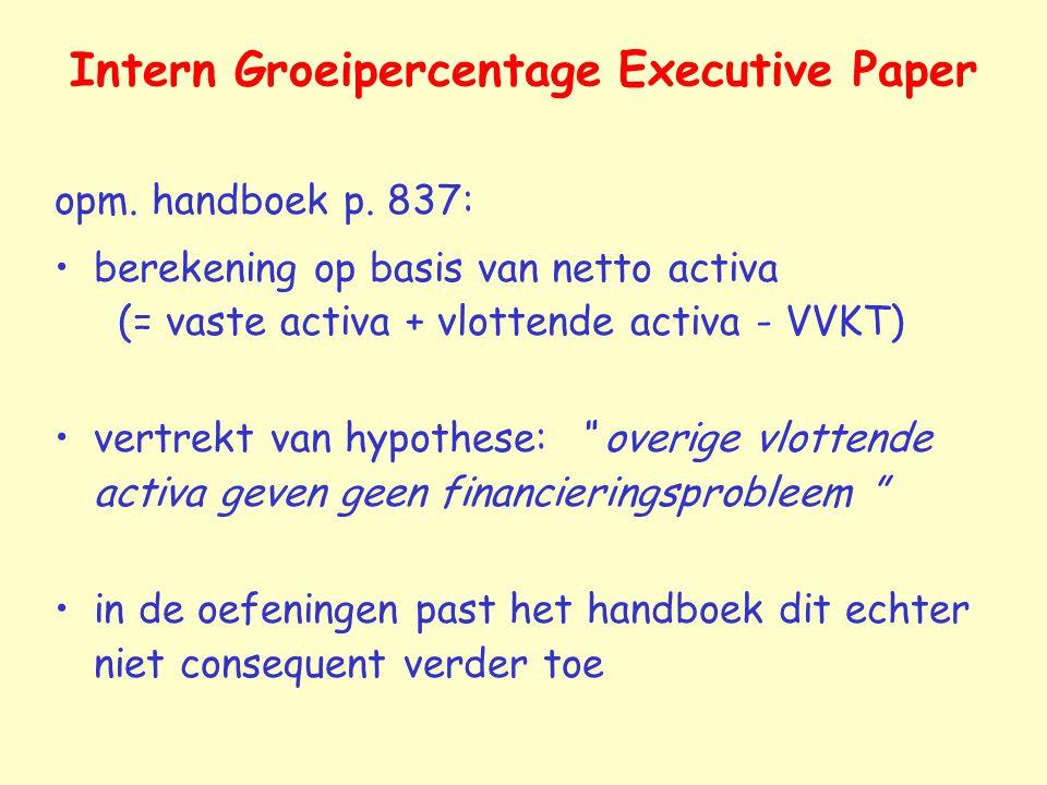 Intern Groeipercentage Executive Paper opm.handboek p.