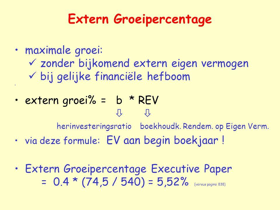 Extern Groeipercentage maximale groei: zonder bijkomend extern eigen vermogen bij gelijke financiële hefboom extern groei% = b * REV   herinvesteringsratio boekhoudk.