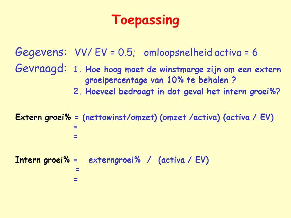 Toepassing Gegevens: VV/ EV = 0.5; omloopsnelheid activa = 6 Gevraagd: 1.