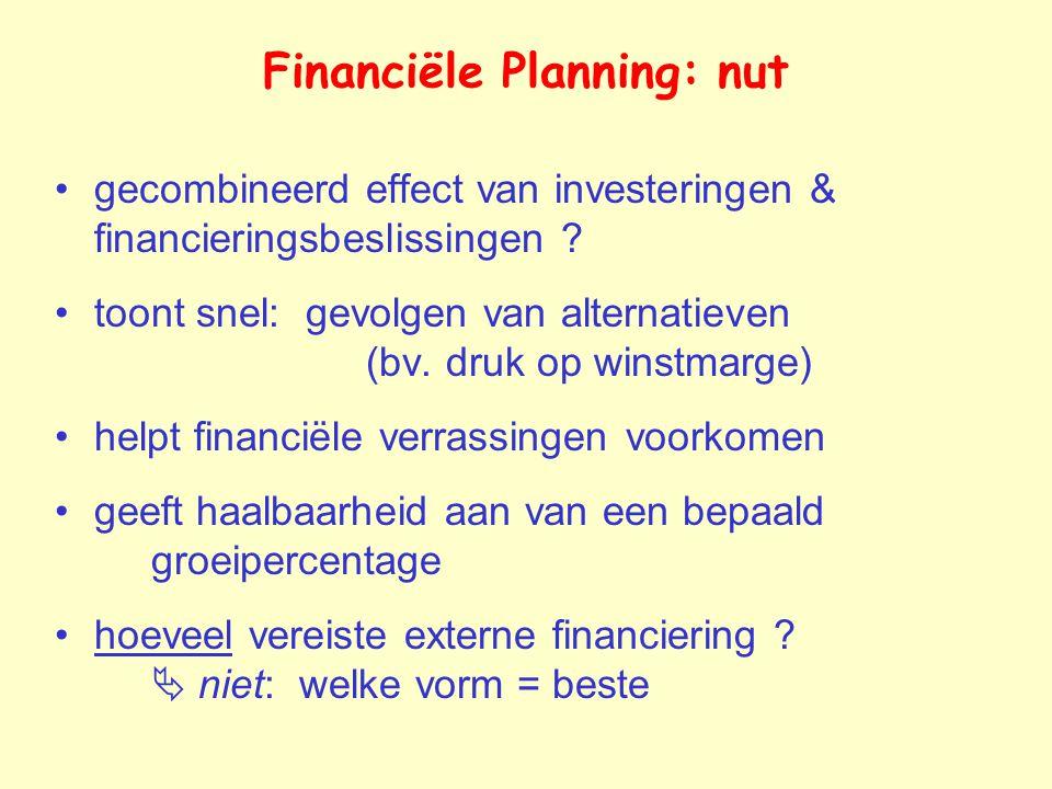Financiële Planning: nut gecombineerd effect van investeringen & financieringsbeslissingen .