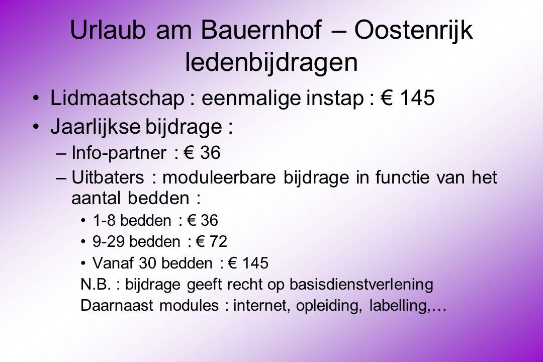 Urlaub am Bauernhof – Oostenrijk ledenbijdragen Lidmaatschap : eenmalige instap : € 145 Jaarlijkse bijdrage : –Info-partner : € 36 –Uitbaters : moduleerbare bijdrage in functie van het aantal bedden : 1-8 bedden : € 36 9-29 bedden : € 72 Vanaf 30 bedden : € 145 N.B.
