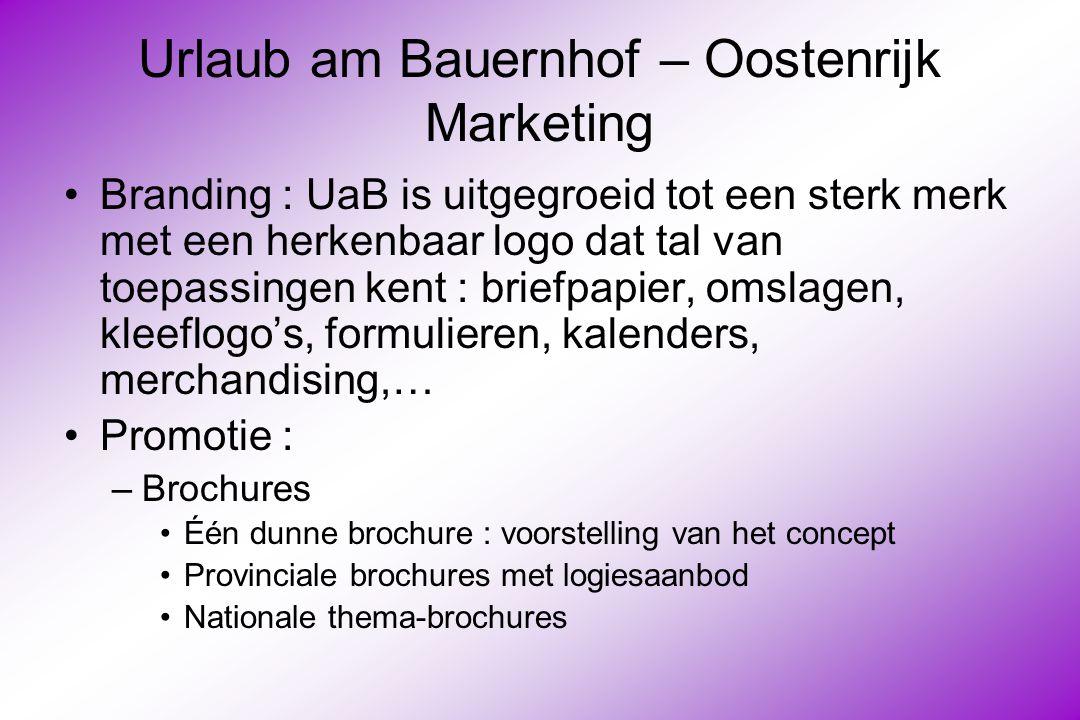 Urlaub am Bauernhof – Oostenrijk Marketing Branding : UaB is uitgegroeid tot een sterk merk met een herkenbaar logo dat tal van toepassingen kent : briefpapier, omslagen, kleeflogo's, formulieren, kalenders, merchandising,… Promotie : –Brochures Één dunne brochure : voorstelling van het concept Provinciale brochures met logiesaanbod Nationale thema-brochures