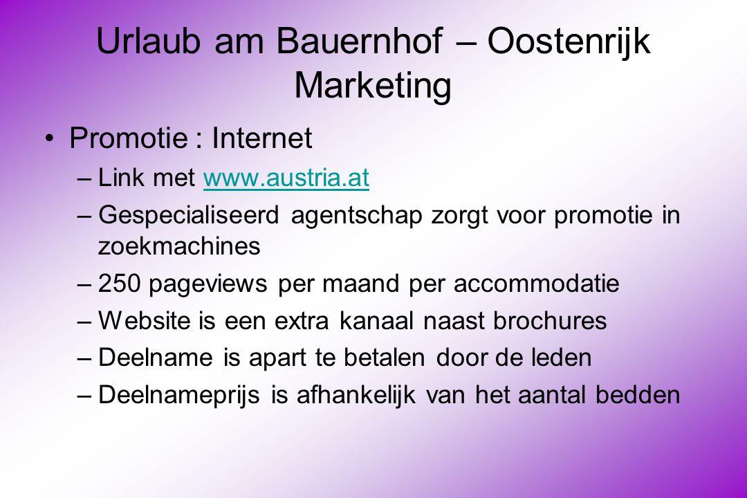 Urlaub am Bauernhof – Oostenrijk Marketing Promotie : Internet –Link met www.austria.atwww.austria.at –Gespecialiseerd agentschap zorgt voor promotie in zoekmachines –250 pageviews per maand per accommodatie –Website is een extra kanaal naast brochures –Deelname is apart te betalen door de leden –Deelnameprijs is afhankelijk van het aantal bedden