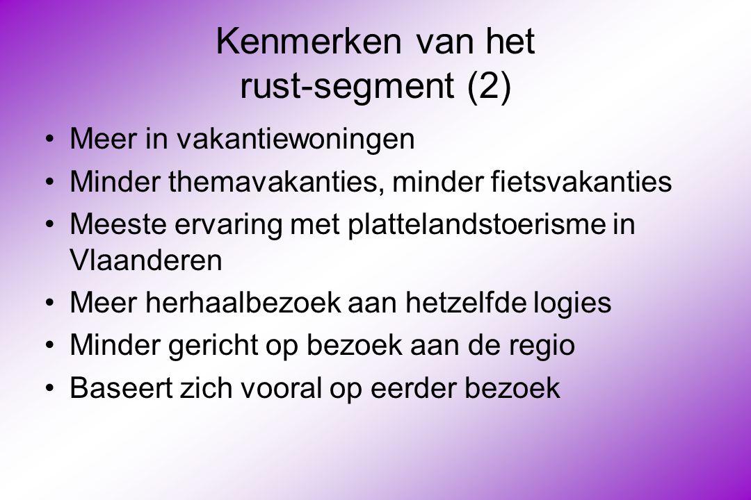 Kenmerken van het rust-segment (2) Meer in vakantiewoningen Minder themavakanties, minder fietsvakanties Meeste ervaring met plattelandstoerisme in Vlaanderen Meer herhaalbezoek aan hetzelfde logies Minder gericht op bezoek aan de regio Baseert zich vooral op eerder bezoek
