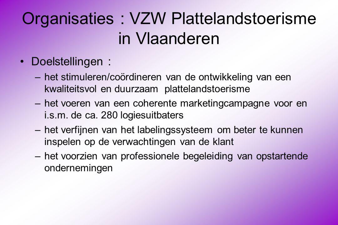 Organisaties : VZW Plattelandstoerisme in Vlaanderen Doelstellingen : –het stimuleren/coördineren van de ontwikkeling van een kwaliteitsvol en duurzaam plattelandstoerisme –het voeren van een coherente marketingcampagne voor en i.s.m.