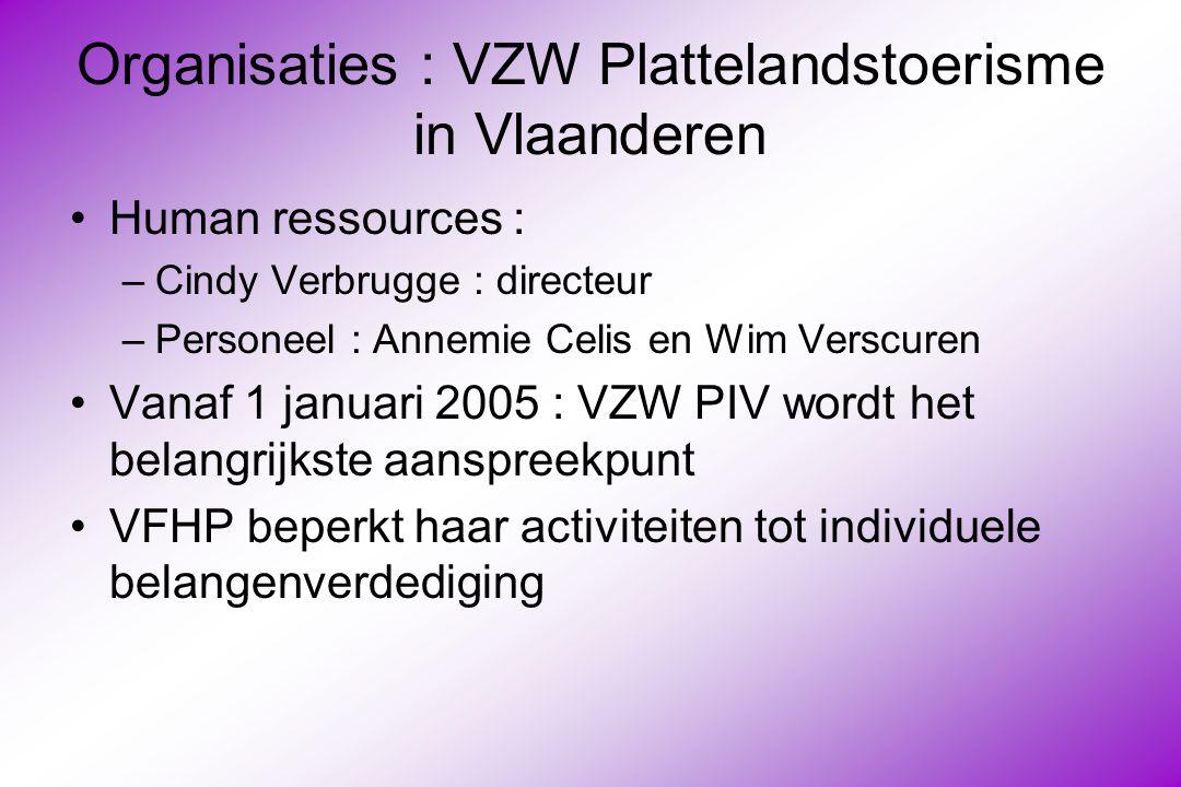 Organisaties : VZW Plattelandstoerisme in Vlaanderen Human ressources : –Cindy Verbrugge : directeur –Personeel : Annemie Celis en Wim Verscuren Vanaf 1 januari 2005 : VZW PIV wordt het belangrijkste aanspreekpunt VFHP beperkt haar activiteiten tot individuele belangenverdediging