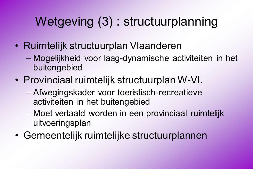 Wetgeving (3) : structuurplanning Ruimtelijk structuurplan Vlaanderen –Mogelijkheid voor laag-dynamische activiteiten in het buitengebied Provinciaal ruimtelijk structuurplan W-Vl.