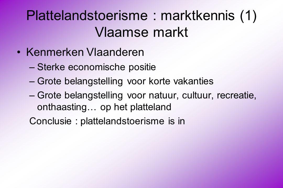 Plattelandstoerisme : marktkennis (1) Vlaamse markt Kenmerken Vlaanderen –Sterke economische positie –Grote belangstelling voor korte vakanties –Grote belangstelling voor natuur, cultuur, recreatie, onthaasting… op het platteland Conclusie : plattelandstoerisme is in