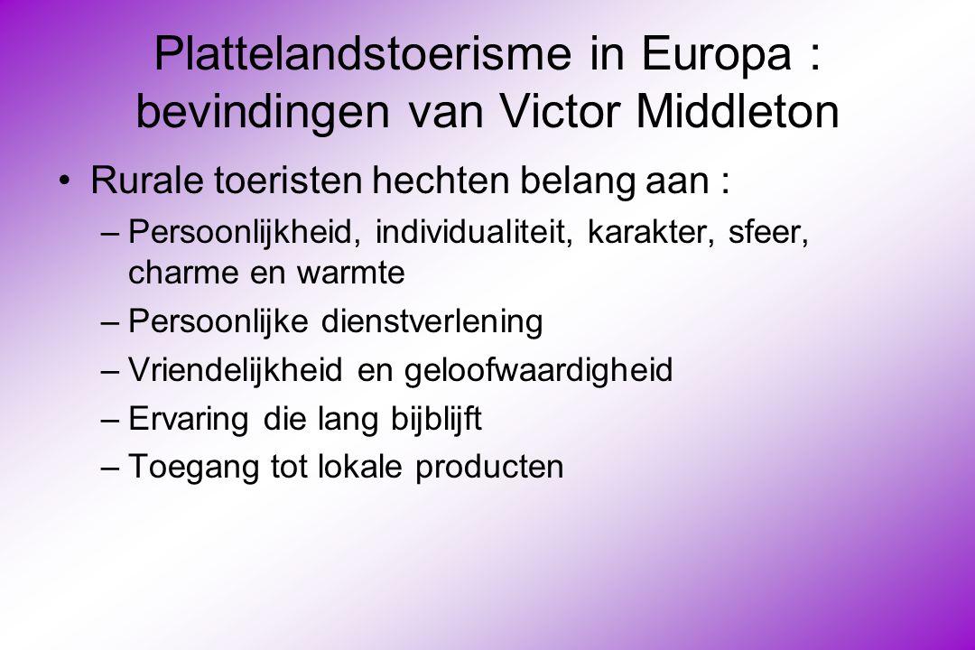 Plattelandstoerisme in Europa : bevindingen van Victor Middleton Rurale toeristen hechten belang aan : –Persoonlijkheid, individualiteit, karakter, sfeer, charme en warmte –Persoonlijke dienstverlening –Vriendelijkheid en geloofwaardigheid –Ervaring die lang bijblijft –Toegang tot lokale producten