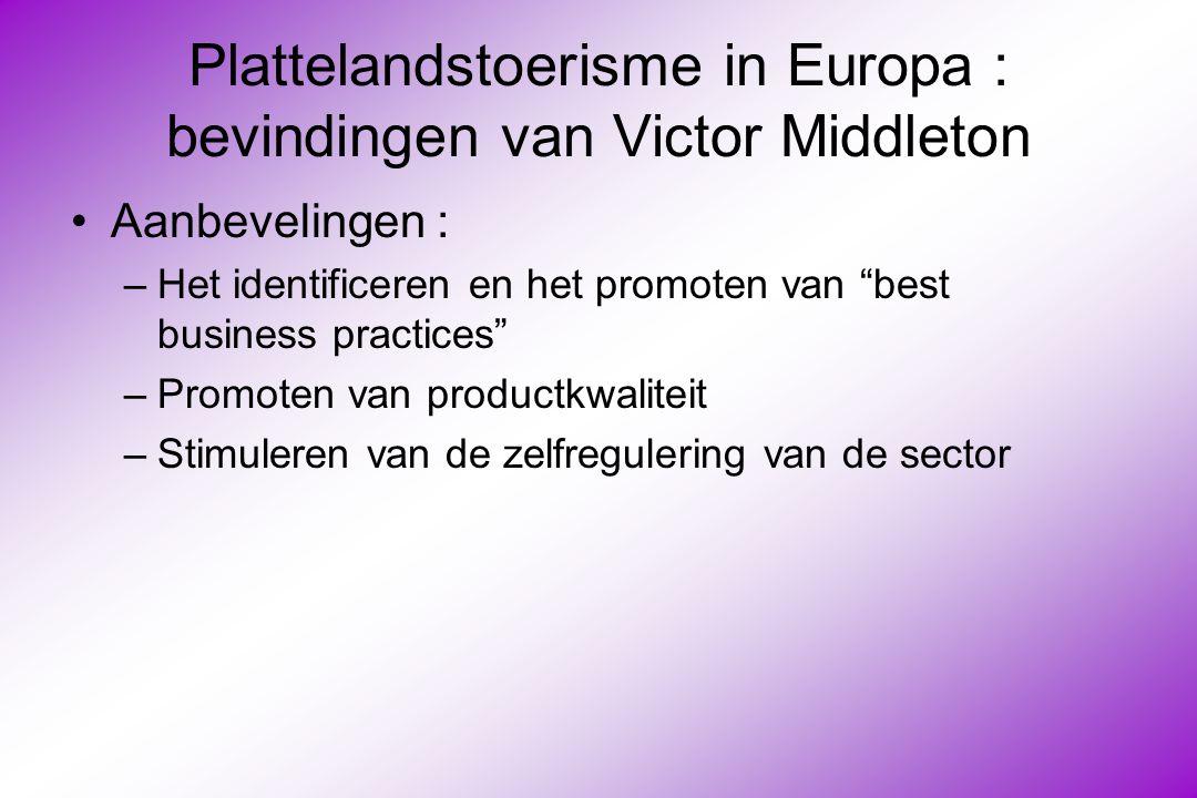 Plattelandstoerisme in Europa : bevindingen van Victor Middleton Aanbevelingen : –Het identificeren en het promoten van best business practices –Promoten van productkwaliteit –Stimuleren van de zelfregulering van de sector