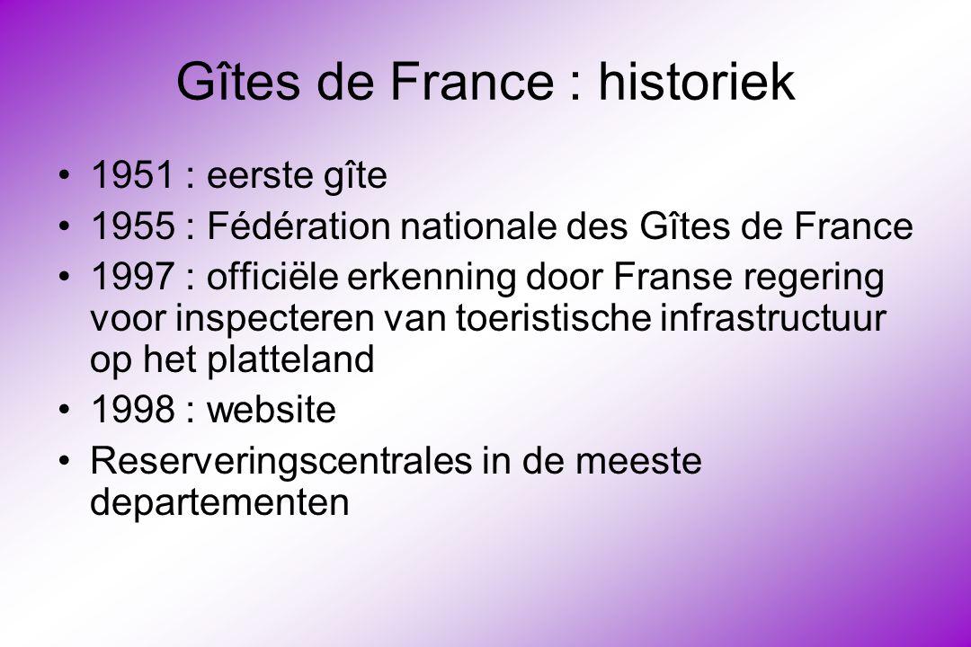 Gîtes de France : historiek 1951 : eerste gîte 1955 : Fédération nationale des Gîtes de France 1997 : officiële erkenning door Franse regering voor inspecteren van toeristische infrastructuur op het platteland 1998 : website Reserveringscentrales in de meeste departementen
