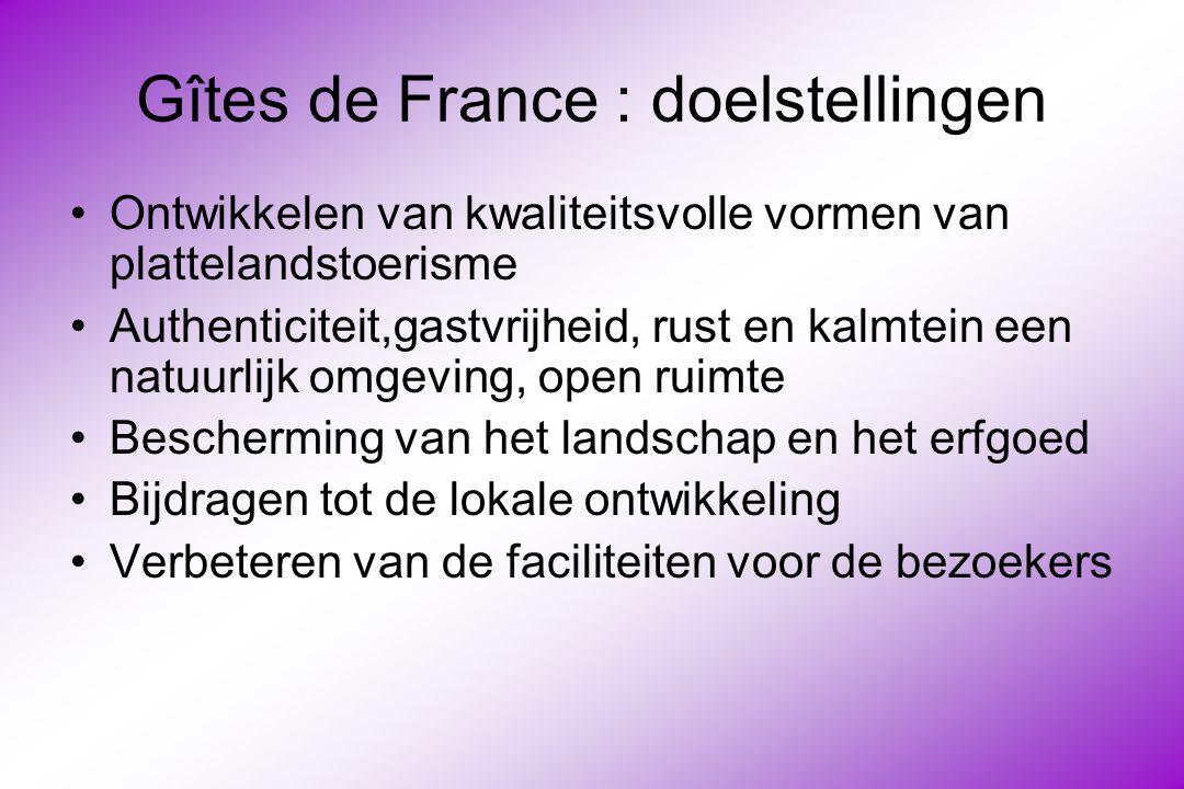Gîtes de France : doelstellingen Ontwikkelen van kwaliteitsvolle vormen van plattelandstoerisme Authenticiteit,gastvrijheid, rust en kalmtein een natuurlijk omgeving, open ruimte Bescherming van het landschap en het erfgoed Bijdragen tot de lokale ontwikkeling Verbeteren van de faciliteiten voor de bezoekers