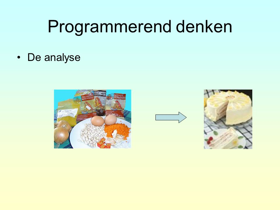 Programmerend denken Beginsituatie –grond –ingrediënten Beschrijving –plan –recept Resultaat –huis –gerecht invoer verwerking uitvoer