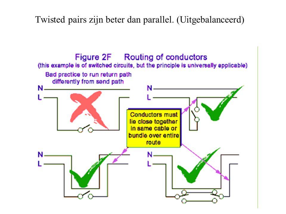 Twisted pairs zijn beter dan parallel. (Uitgebalanceerd)