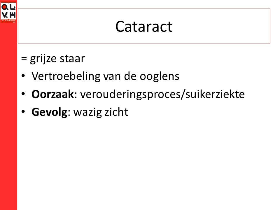 Cataract = grijze staar Vertroebeling van de ooglens Oorzaak: verouderingsproces/suikerziekte Gevolg: wazig zicht