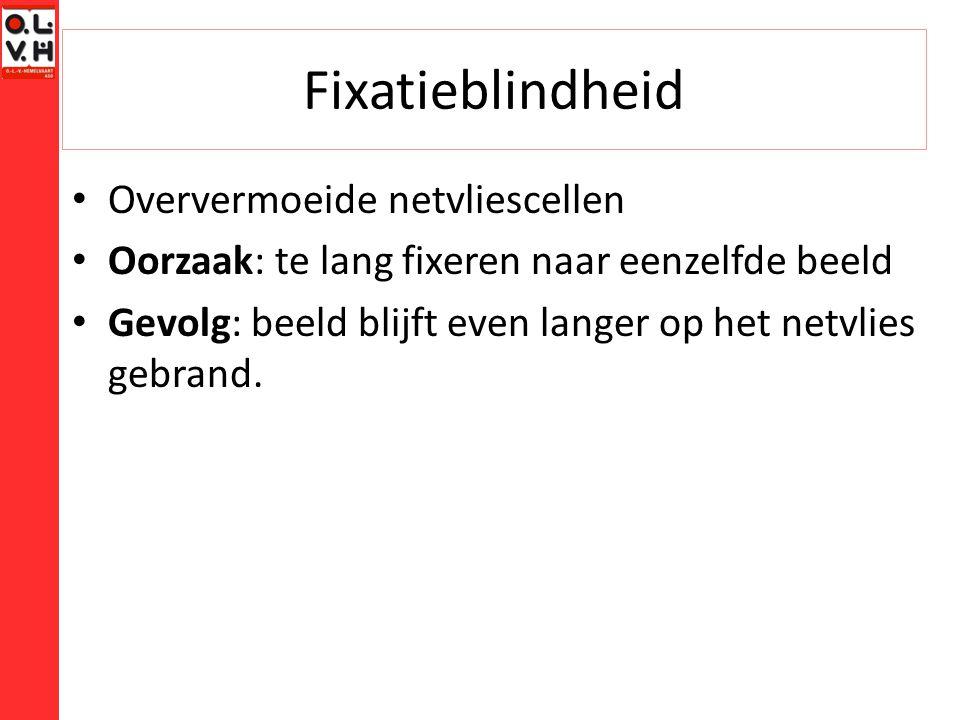 Fixatieblindheid Oververmoeide netvliescellen Oorzaak: te lang fixeren naar eenzelfde beeld Gevolg: beeld blijft even langer op het netvlies gebrand.