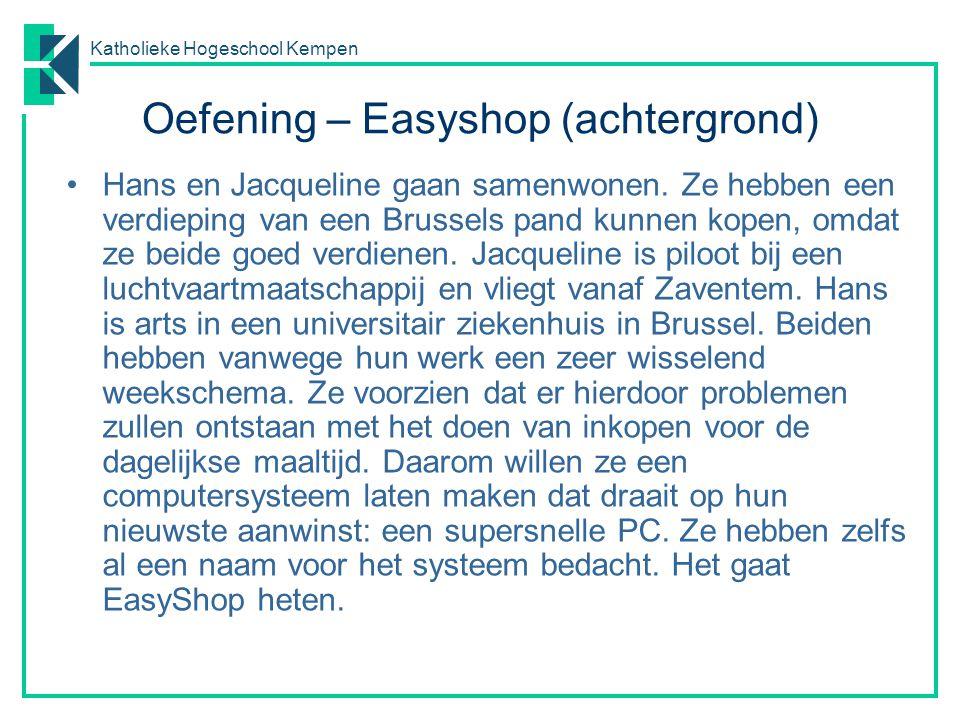 Katholieke Hogeschool Kempen Oefening – Easyshop (achtergrond) Hans en Jacqueline gaan samenwonen. Ze hebben een verdieping van een Brussels pand kunn