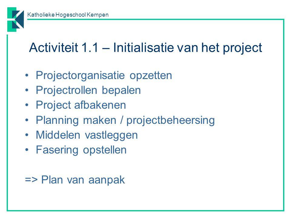 Katholieke Hogeschool Kempen Activiteit 1.1 – Initialisatie van het project Projectorganisatie opzetten Projectrollen bepalen Project afbakenen Planni