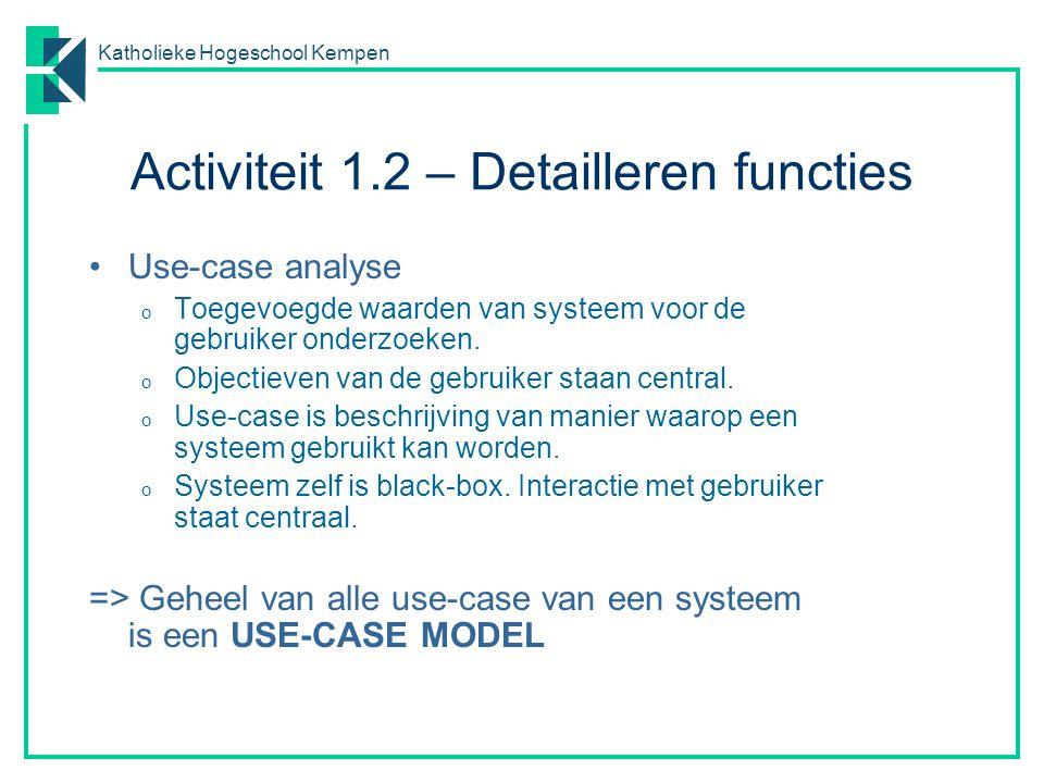 Katholieke Hogeschool Kempen Activiteit 1.2 – Detailleren functies Use-case analyse o Toegevoegde waarden van systeem voor de gebruiker onderzoeken. o