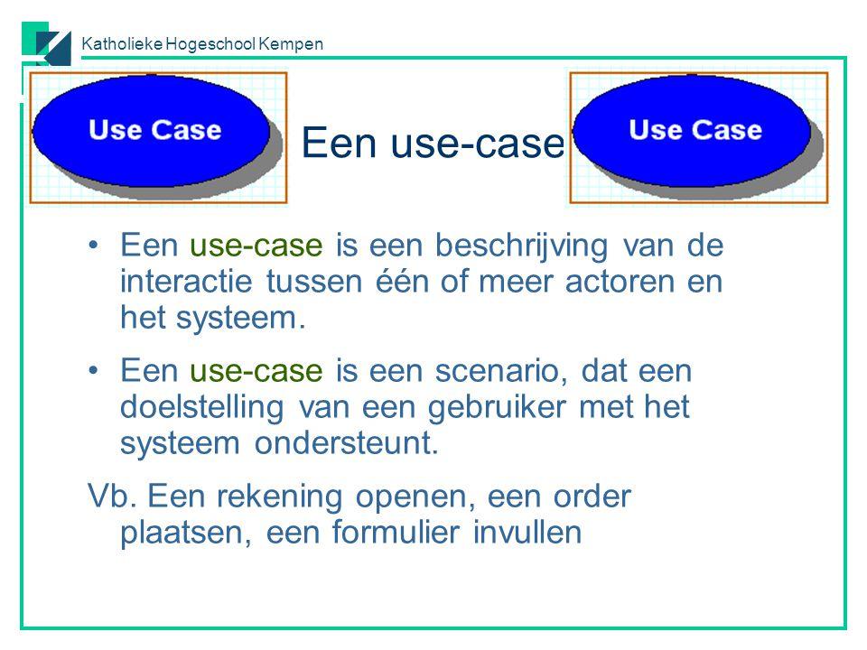 Katholieke Hogeschool Kempen Een use-case Een use-case is een beschrijving van de interactie tussen één of meer actoren en het systeem. Een use-case i