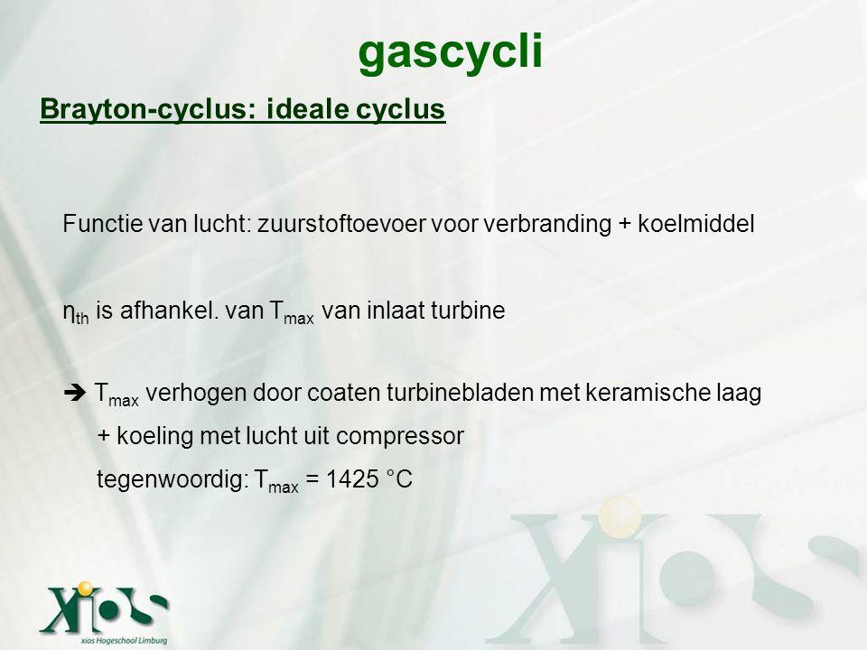 gascycli Brayton-cyclus: ideale cyclus Functie van lucht: zuurstoftoevoer voor verbranding + koelmiddel η th is afhankel. van T max van inlaat turbine