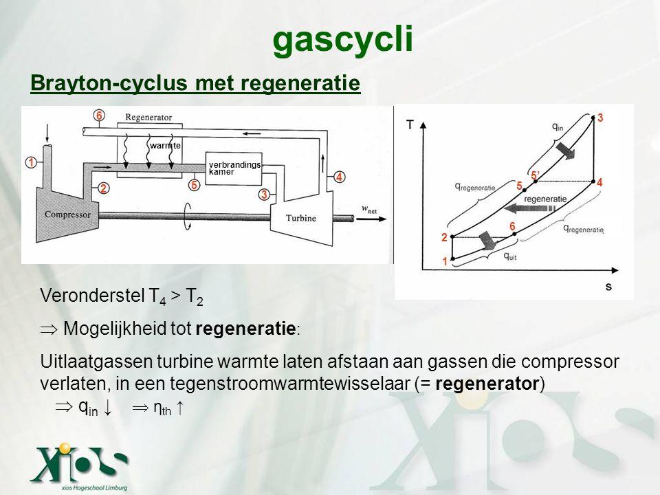 gascycli Brayton-cyclus met regeneratie Veronderstel T 4 > T 2  Mogelijkheid tot regeneratie : Uitlaatgassen turbine warmte laten afstaan aan gassen