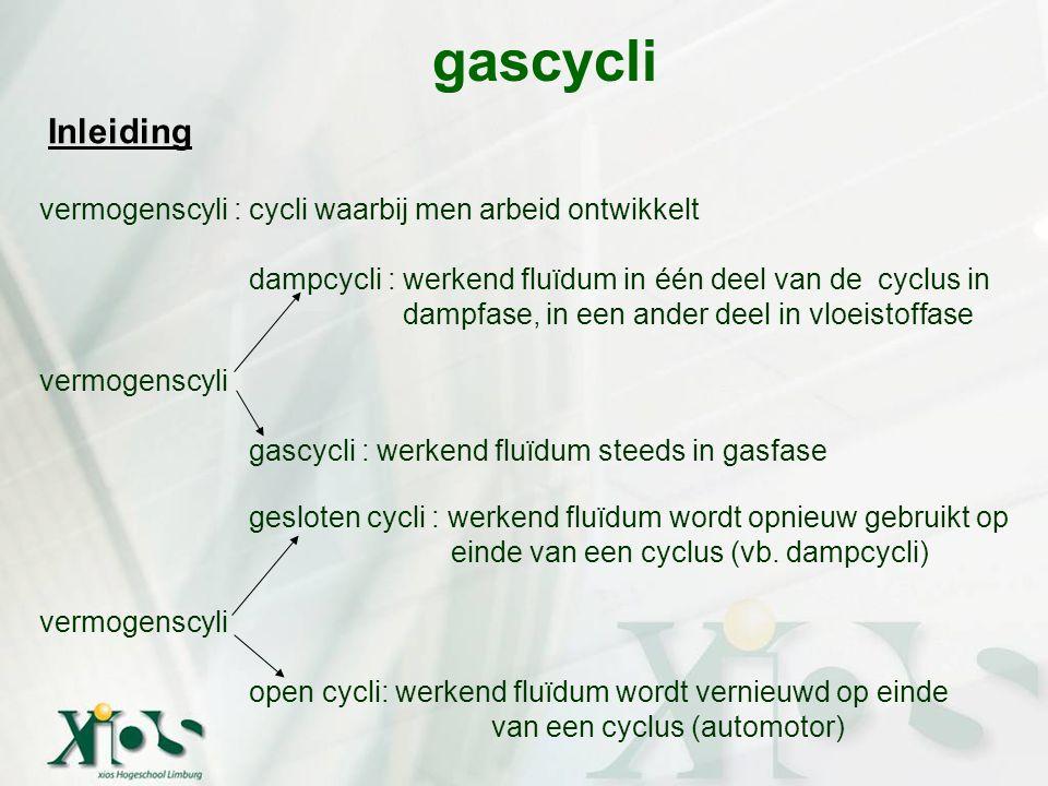 gascycli Inleiding vermogenscyli : cycli waarbij men arbeid ontwikkelt dampcycli : werkend fluïdum in één deel van de cyclus in dampfase, in een ander