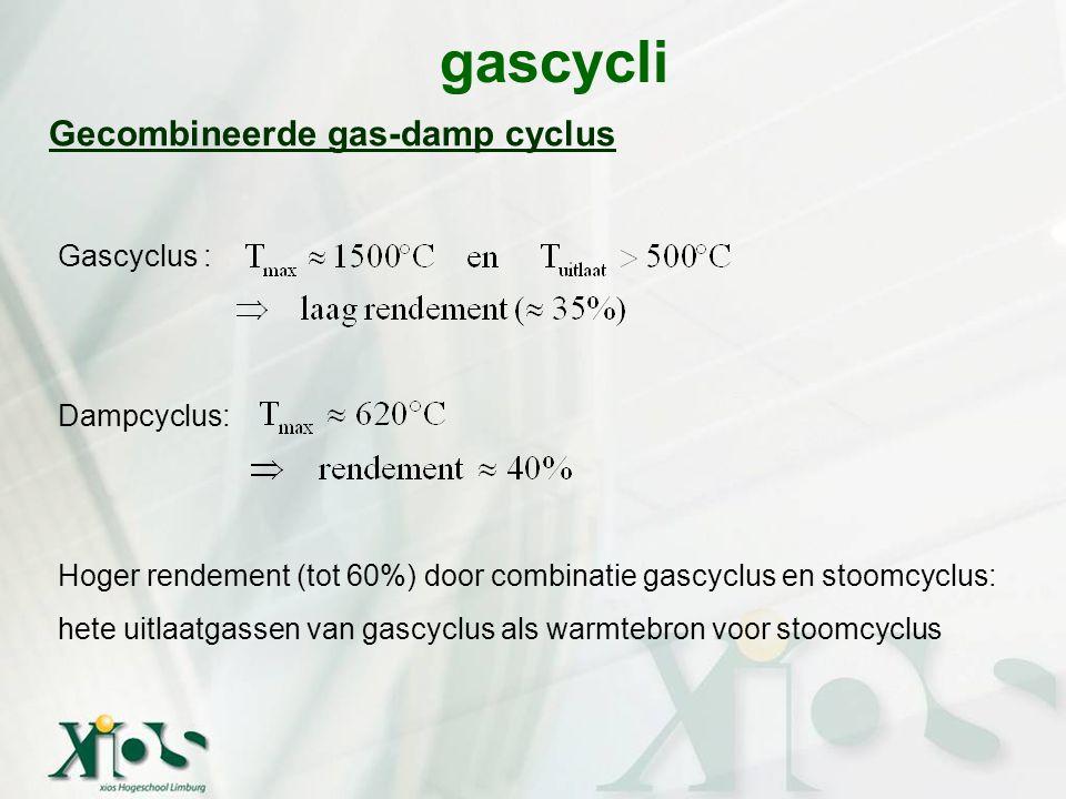 gascycli Gecombineerde gas-damp cyclus Gascyclus : Dampcyclus: Hoger rendement (tot 60%) door combinatie gascyclus en stoomcyclus: hete uitlaatgassen