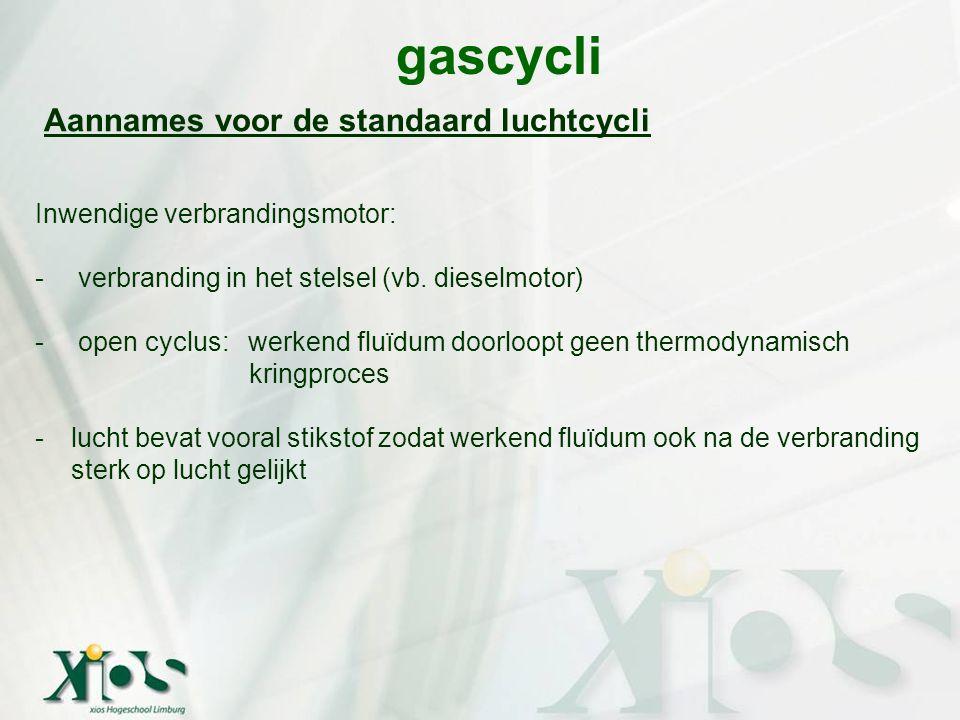 gascycli Aannames voor de standaard luchtcycli Inwendige verbrandingsmotor: - verbranding in het stelsel (vb. dieselmotor) - open cyclus: werkend fluï