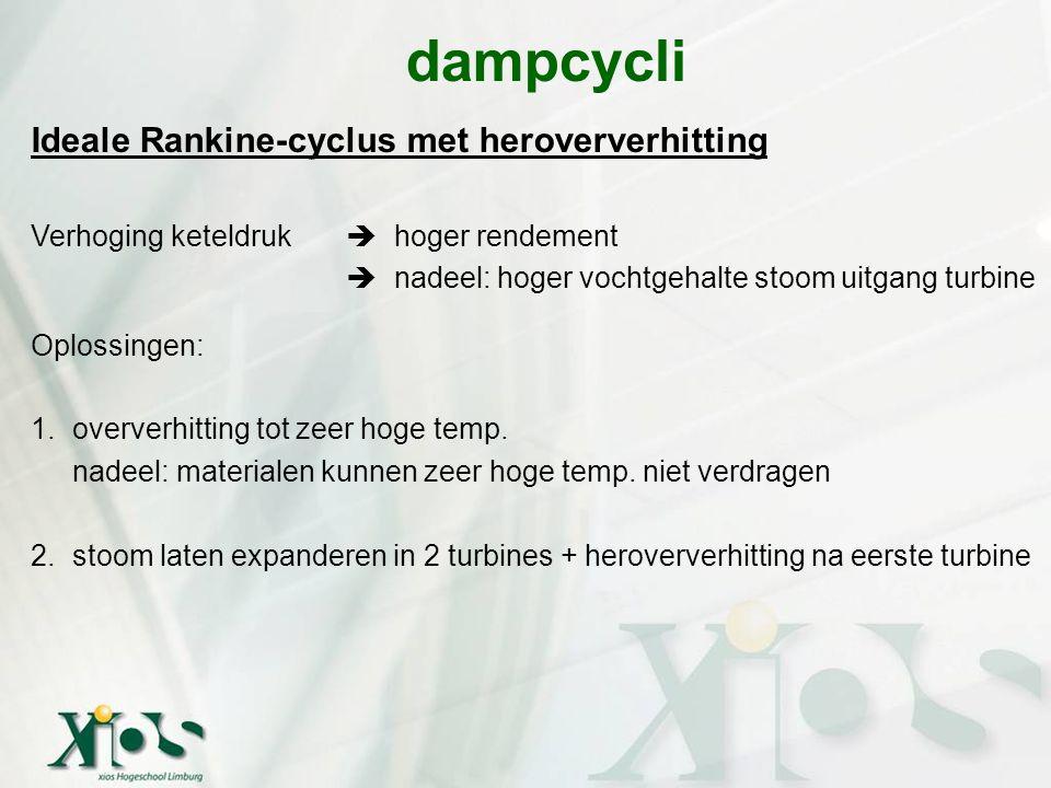 Ideale Rankine-cyclus met heroververhitting Verhoging keteldruk  hoger rendement  nadeel: hoger vochtgehalte stoom uitgang turbine Oplossingen: 1.ov
