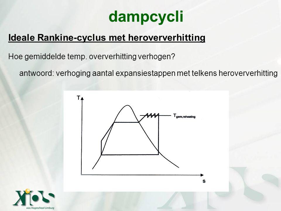 Ideale Rankine-cyclus met heroververhitting Hoe gemiddelde temp. oververhitting verhogen? antwoord: verhoging aantal expansiestappen met telkens herov