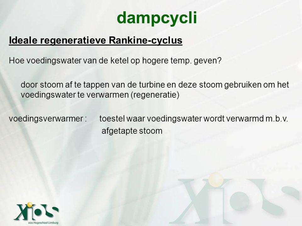 Ideale regeneratieve Rankine-cyclus Hoe voedingswater van de ketel op hogere temp. geven? door stoom af te tappen van de turbine en deze stoom gebruik