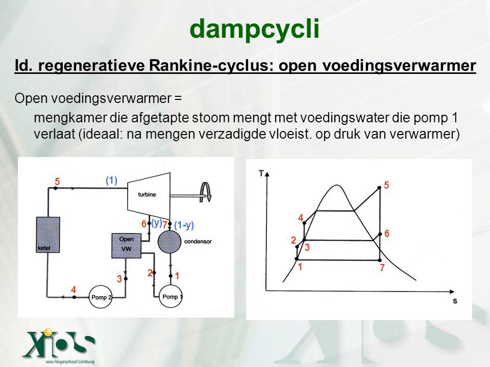 Id. regeneratieve Rankine-cyclus: open voedingsverwarmer Open voedingsverwarmer = mengkamer die afgetapte stoom mengt met voedingswater die pomp 1 ver