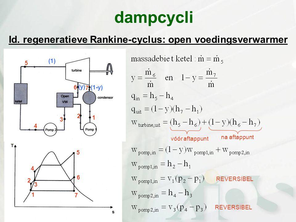 Id. regeneratieve Rankine-cyclus: open voedingsverwarmer dampcycli na aftappunt vóór aftappunt REVERSIBEL 7 6 5 4 3 2 1 (1-y) (y) 3 2 1 4 5 6 7 (1)