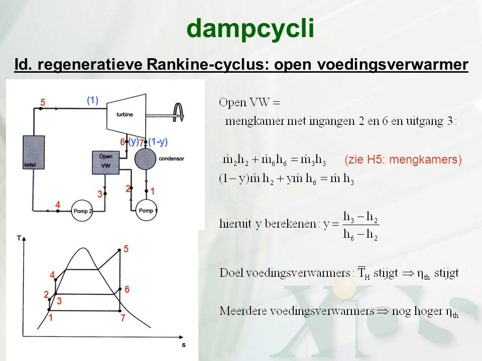 Id. regeneratieve Rankine-cyclus: open voedingsverwarmer dampcycli (zie H5: mengkamers) 7 6 5 4 3 2 1 (1-y) (y) 3 2 1 4 5 6 7 (1)