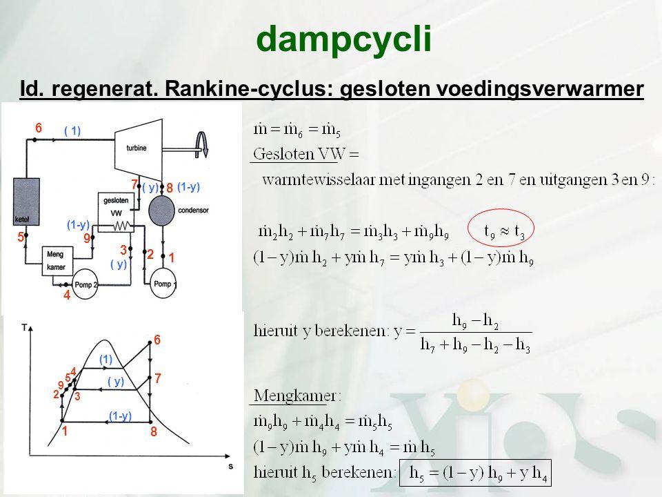 Id. regenerat. Rankine-cyclus: gesloten voedingsverwarmer dampcycli ( y) (1-y) 1 2 3 4 5 6 7 8 9 1 1 2 3 4 5 6 7 8 9 ( 1) ( y) (1-y) (1)