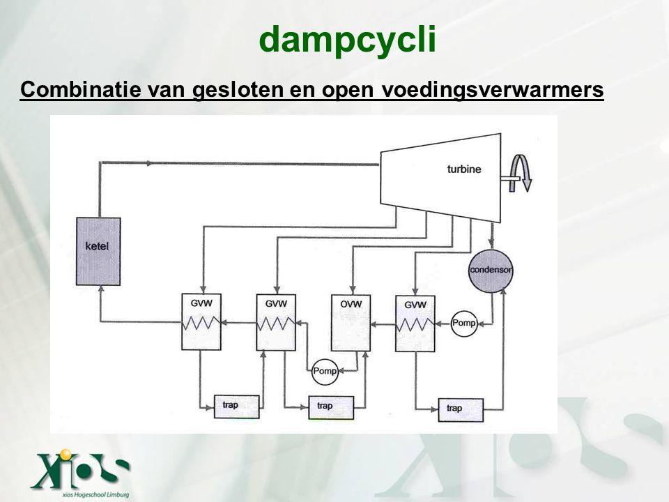 Combinatie van gesloten en open voedingsverwarmers dampcycli