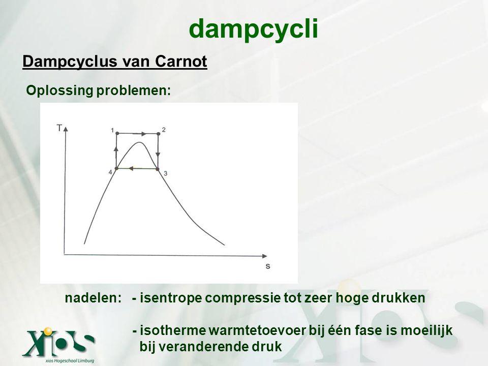 dampcycli Oplossing problemen: Dampcyclus van Carnot nadelen: - isentrope compressie tot zeer hoge drukken - isotherme warmtetoevoer bij één fase is m